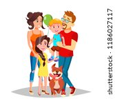 family portrait vector. dad ... | Shutterstock .eps vector #1186027117
