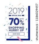 sale 70  off promo banner.... | Shutterstock .eps vector #1186029457
