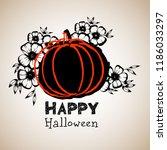 pumpkin in flowers for a... | Shutterstock .eps vector #1186033297