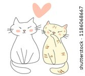 Stock vector greeting card or valentine s day card for cat lover with white cat and tabby cat sitting happily 1186068667