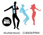 elegant silhouettes of people... | Shutterstock .eps vector #1186069984