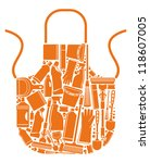 apron with silhouettes of the... | Shutterstock .eps vector #118607005