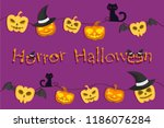 pumpkin scary and black cat on... | Shutterstock .eps vector #1186076284