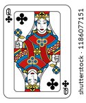 a playing card queen of clubs... | Shutterstock .eps vector #1186077151