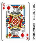 a playing card king of diamonds ... | Shutterstock .eps vector #1186077187