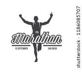 run club logo  emblem with... | Shutterstock .eps vector #1186085707