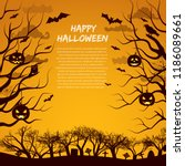 halloween greeting card with... | Shutterstock .eps vector #1186089661