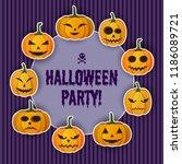 happy halloween greeting... | Shutterstock .eps vector #1186089721