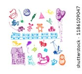 toys. hand drawn sketch doodle...   Shutterstock .eps vector #1186109047