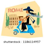 tourist sticker rome italy. a...   Shutterstock .eps vector #1186114957