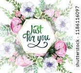 watercolor colorful bouquet... | Shutterstock . vector #1186116097