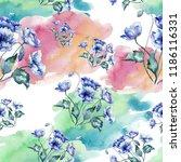 watercolor bouquet of blue... | Shutterstock . vector #1186116331