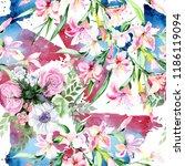 watercolor colorful bouquet...   Shutterstock . vector #1186119094