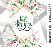 watercolor colorful bouquet... | Shutterstock . vector #1186119097
