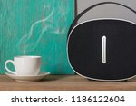 coffee espresso on wood table...   Shutterstock . vector #1186122604