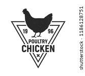 chicken poultry. vintage logo.... | Shutterstock .eps vector #1186128751