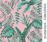 tropical banana palm leaves... | Shutterstock .eps vector #1186133221