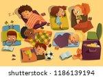 nap time in the kindergarten.... | Shutterstock .eps vector #1186139194