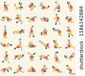 hand drawn tangram set in... | Shutterstock .eps vector #1186142884
