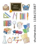 a set of school items on a... | Shutterstock .eps vector #1186151887