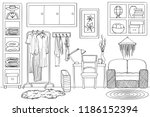 sketch of living wardrobe room... | Shutterstock .eps vector #1186152394