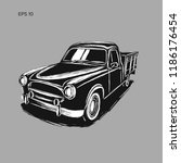 old farmer pickup truck vector... | Shutterstock .eps vector #1186176454