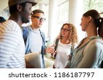 group of young intercultural... | Shutterstock . vector #1186187797