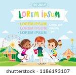 amusement park  theme park ... | Shutterstock .eps vector #1186193107
