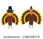 turkey pilgrimin on... | Shutterstock .eps vector #1186198174