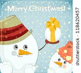 christmas card   two snowmen on ... | Shutterstock . vector #118620457