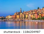 old town architecture of menton ... | Shutterstock . vector #1186204987