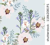trendy floral pattern with the... | Shutterstock .eps vector #1186208191
