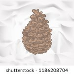 doodle pine cone isolated on... | Shutterstock .eps vector #1186208704
