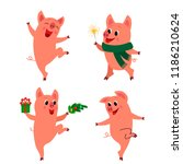set of happy characters of pigs ... | Shutterstock .eps vector #1186210624