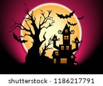 halloween night and full moon... | Shutterstock .eps vector #1186217791