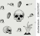 vector seamless hand drawn... | Shutterstock .eps vector #1186219537