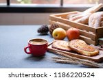 red hot coffee cup  breads in... | Shutterstock . vector #1186220524