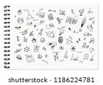 doodle set of school reated... | Shutterstock . vector #1186224781