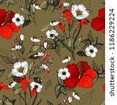blossom floral seamless pattern.... | Shutterstock .eps vector #1186229224