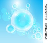 realistic soap bubbles with... | Shutterstock .eps vector #1186235857