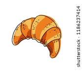 sketch croissant on white... | Shutterstock .eps vector #1186237414