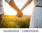 couple hold hands in green... | Shutterstock . vector #1186242634