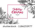 christmas wreath frame. vector... | Shutterstock .eps vector #1186253977