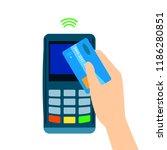 pos terminal confirms the... | Shutterstock .eps vector #1186280851