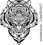 image of an angry tiger.... | Shutterstock .eps vector #1186291417