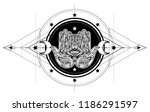 ornate hand drawn hamsa....   Shutterstock .eps vector #1186291597