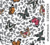 trendy  butterflies flying on... | Shutterstock .eps vector #1186295224