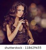 fashion lady  sensual brunette... | Shutterstock . vector #118629655