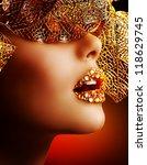 luxury golden makeup. beautiful ... | Shutterstock . vector #118629745