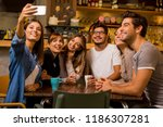group of friends taking a... | Shutterstock . vector #1186307281